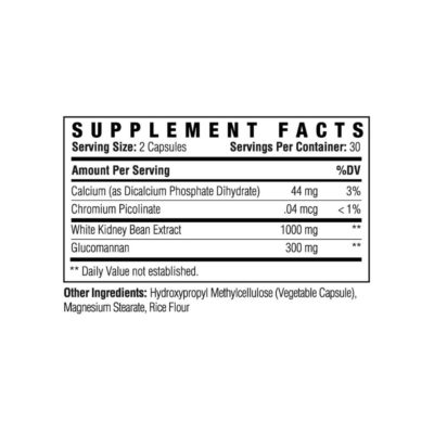 Carb Attack Supplement Facts